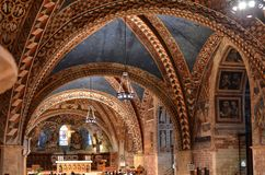 Assisi, Italy August 2016: Interior of the famous Basilica of San Francesco d`Assisi royalty free stock image