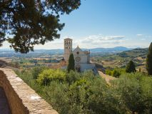 Assisi, Italy. The Basilica and the Sacred Convent of Saint Francis stock images