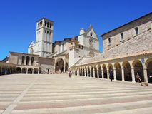 Assisi, Italy. The Basilica and the Sacred Convent of Saint Francis royalty free stock photo