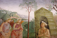 Assisi, Italy, Cappela of the roseto. Assisi, Italy, Cappela of the roseto, frescos of Tiberio in Assisi, Basilica of S. Maria of the Angels Stock Images