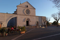 Assisi, Italy, Church of Saint Chiara. To the sunset Stock Photography