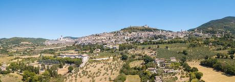 Assisi, Italy. Drone aerial view of the skyline of the village from the land stock photography