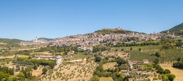 Assisi, Italy. Drone aerial view of the skyline of the village from the land royalty free stock photos