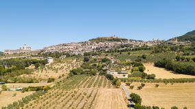 Assisi, Italy. Drone aerial view of the skyline of the village from the land stock photo
