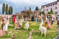 Life size nativity scene, Basilica of Saint Francis, Assisi, Ita Royalty Free Stock Photography