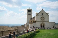 Papal Basilica of Saint Francis of Assisi. Assisi,Italy-July 28, 2018: Basilica di San Francesco d`Assisi or Papal Basilica of Saint Francis of Assisi royalty free stock photography