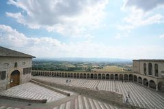 Papal Basilica of Saint Francis of Assisi. Assisi,Italy-July 28, 2018: Basilica di San Francesco d`Assisi or Papal Basilica of Saint Francis of Assisi stock photography