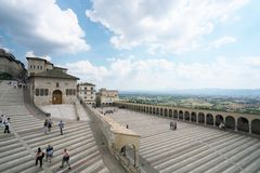 Papal Basilica of Saint Francis of Assisi. Assisi,Italy-July 28, 2018: Basilica di San Francesco d`Assisi or Papal Basilica of Saint Francis of Assisi stock photos