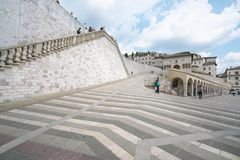 Papal Basilica of Saint Francis of Assisi. Assisi,Italy-July 28, 2018: Basilica di San Francesco d`Assisi or Papal Basilica of Saint Francis of Assisi stock photo