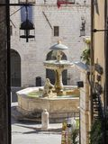 Assisi, Italy. The monumental fountain that is in the town square.  Stock Photo