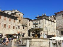 Assisi, Italy. The monumental fountain that is in the town square. Summer time Royalty Free Stock Photography
