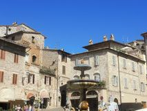 Assisi, Italy. The monumental fountain that is in the town square. Summer time Stock Photo