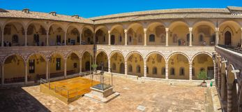 Assisi, Italy. The cloister of the Basilica of Saint Francis royalty free stock photo