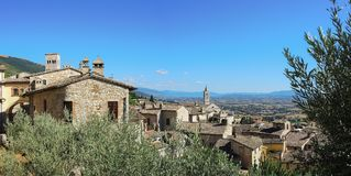 Assisi, Italy, a Unesco world heritage. Historical buildings and houses in the old city center Stock Photo