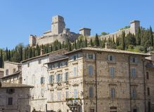 Assisi, Italy, a Unesco world heritage. Historical buildings in the old city center Royalty Free Stock Photos