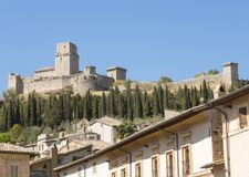 Assisi, Italy, a Unesco world heritage. The upper medieval fortress Stock Photos