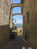 Assisi, Italy. Views of the streets of the old city center, a Unesco world heritage Royalty Free Stock Photos