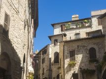 Assisi, Italy. Views of the streets of the old city center, a Unesco world heritage Stock Photography
