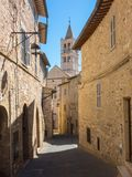 Assisi, Italy. Views of the streets of the old city center, a Unesco world heritage Royalty Free Stock Photo