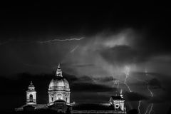 Assisi and lightnings Royalty Free Stock Images