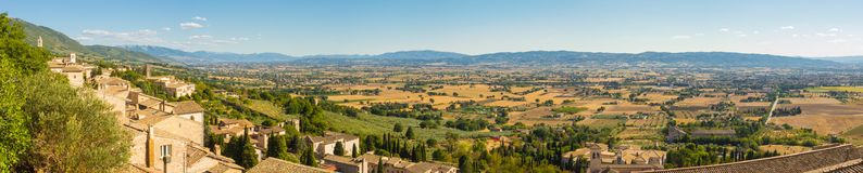 Assisi, one of the most beautiful small town in Italy. Landscape on the plain from the city center royalty free stock photo