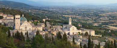 Assisi panorama St. Rufino and St. Chiara Stock Images