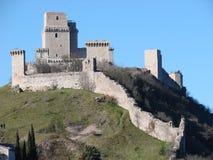 Assisi Schloss, Rocca Maggiore Stockfotografie