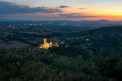Assisi Umbria Basilica di San Francesco at sunset Royalty Free Stock Photo