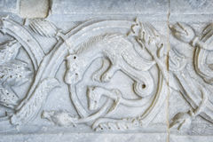 Assisi, Umbria, Italy- Stone carved decorations. Stock Image