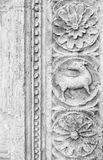 Assisi, Umbria, Italy- Stone carved decorations. Stock Photo