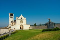 Assisi - Umbria - San Francesco Cathedral. View of the church of San Francis in the Italian country Royalty Free Stock Image