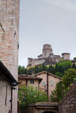 Assisi view. Of the Cathedral and village, Italy Stock Photo