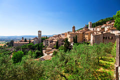 Assisi view. View of medieval assisi town in italy royalty free stock images