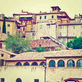 Assisi. View to Historic Center City of Assisi in Italy, Instagram Effect Stock Photo