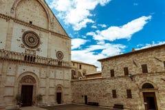 Assisi Włochy: Katedra San Rufino obraz royalty free