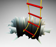 Assist concept illustration. Rope ladder leading to the deep cracked hole Stock Image