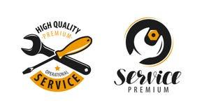 Assista il logo Riparazione, etichetta del lavoro di manutenzione o simbolo Illustrazione di vettore illustrazione vettoriale