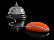 Assista il topo del computer e della campana Fotografie Stock