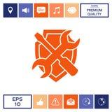 Assista l'icona di simbolo - schermo con il cacciavite e la chiave Fotografia Stock Libera da Diritti