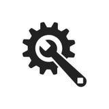 Assista l'icona piana di vettore degli strumenti Ruota dentata con il logo di simbolo della chiave Immagini Stock