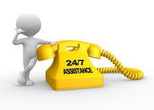 Assistance 24/7. 3d people - man, person and phone. Assistance 24/7 Royalty Free Stock Image