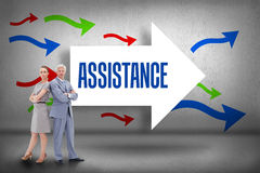 Assistance against arrows pointing Stock Photography