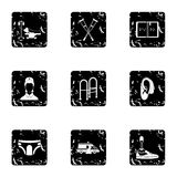 Assistance for disabled icons set, grunge style. Assistance for disabled icons set. Grunge illustration of 9 assistance for disabled vector icons for web Royalty Free Stock Photography