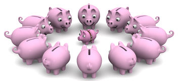Assistance in financial matters. Financial advice. The concept. The large piggy banks are located around the small. The concept of financial assistance Stock Image