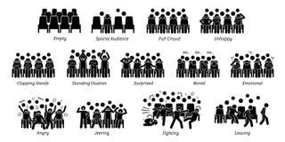 Assistance, foule, et réactions de personnes vers la représentation d'étape illustration de vecteur
