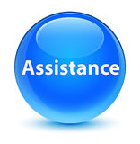 Assistance glassy cyan blue round button Royalty Free Stock Images