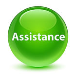 Assistance glassy green round button Stock Images
