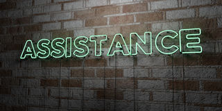 ASSISTANCE - Glowing Neon Sign on stonework wall - 3D rendered royalty free stock illustration. Can be used for online banner ads and direct mailers Stock Photo