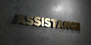 Assistance - Gold text on black background - 3D rendered royalty free stock picture. This image can be used for an online website banner ad or a print postcard Royalty Free Stock Photography
