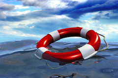 Assistance, insurance and help concept. Lifebuoy ring floating in deep sea in storm weather on cloud background Royalty Free Stock Photo